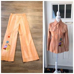 Erna Vintage 70's Bellbottom Pants Suit